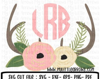 50% off - Floral antlers SVG, DXF, EPS, png Files for Cutting Machines Cameo or Cricut - flower svg - antlers svg - baby girl antlers svg -
