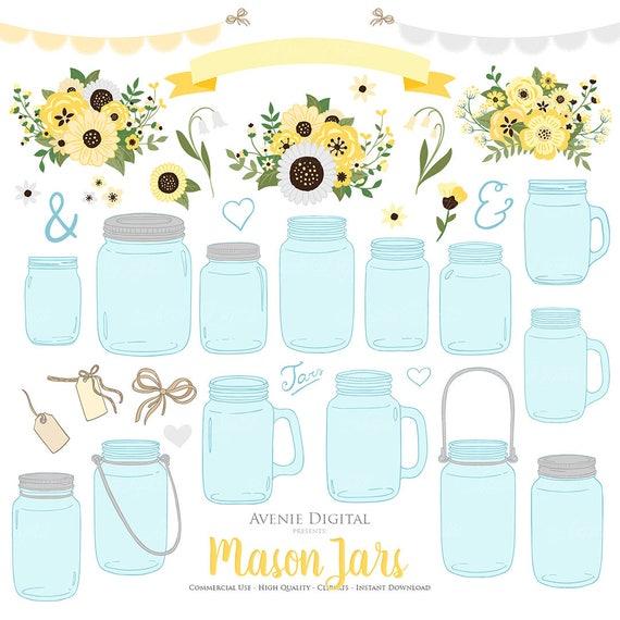 Yellow And Grey Floral Mason Jar Wedding Clipart Scrapbook Clip Art