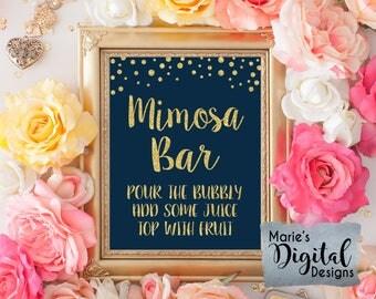 INSTANT DOWNLOAD - Printable Mimosa Bar Instructions Navy Blue Gold Glitter Wedding Bar Sign / Party Decor Bridal Engagement Shower / JPEG