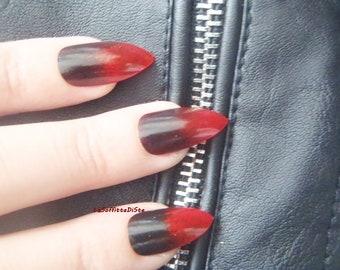 gothic stiletto fake nails red black pointy nails drag queen false nail punk rock almond gothic wedding pointy fashion mani lasoffittadiste