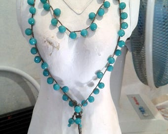 Turquoise agate necklace boho chic charms vintage teaspoon Cod. L25