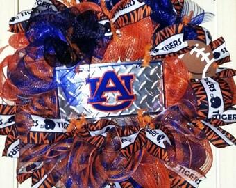Auburn wreath, Auburn tigers wreath, Auburn door hanger, collegiate wreath, team spirit wreath, football wreath, Auburn Tigers door hanger