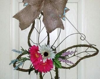 Butterfly door hanger, Spring door hanger, Butterfly wreath, Moss door decor, Spring Butterfly wreath, primitive Spring wreath
