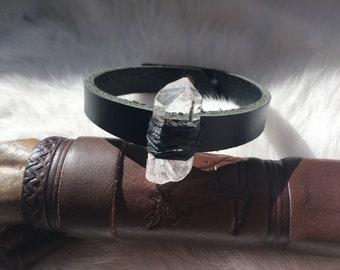 Clear Quartz Crystal Leather Bracelet