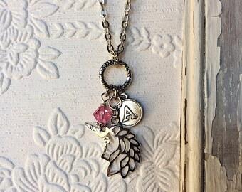 Personalized unicorn necklace, unicorn charm pendant, unicorn gift for girls, silver unicorn jewelry, personalized birthstone, unicorn gift