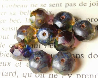 8 Czech beads, 6x8mm Amethyst finish R815 picasso