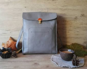 Unisex gray bag, woman bag, medium sized cow leather handbag, light gray cute purse, gift for her, long handle  - made to order