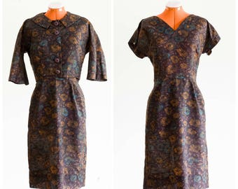 Late 50s/early 60s brown floral dress set with cropped jacket