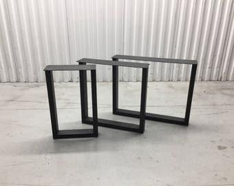 "The U Black Powder Coated Steel Metal Bench Legs, Coffee Table U Legs 13"" x 16"" SET(2)"
