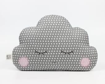 Gray baby cloud pillow, gray cloud cushion, kids pillow, kids cushion, kids throw pillow, personalized baby pillow, name pillow, baby gift