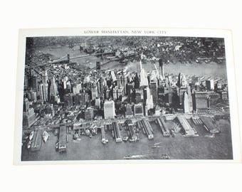 Unused Vintage Aerial View Lower Manhattan Post Card, Black and White, Ephemera, New York, Blank