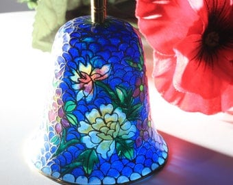 Plique a Jour Stained Glass Bell With Brass Handle and Flowered Design