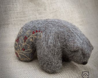 "Felt bear ""Kalina"". Needle felt. 100% wool."