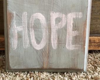 """wood sign -""""hope"""""""