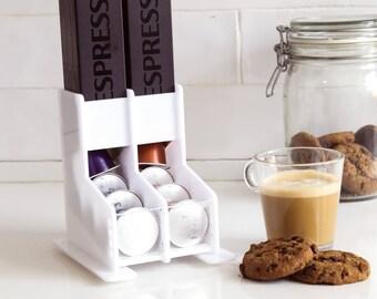 White Nespresso Coffee Capsules Holder, Coffee Pod Storage Unit, Counter Top Stand, Coffee Pod Tray Organizer, Coffee Lover Gift, Home Decor