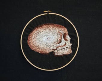Embroidery Hoop Art - Hand Embroidered Skull