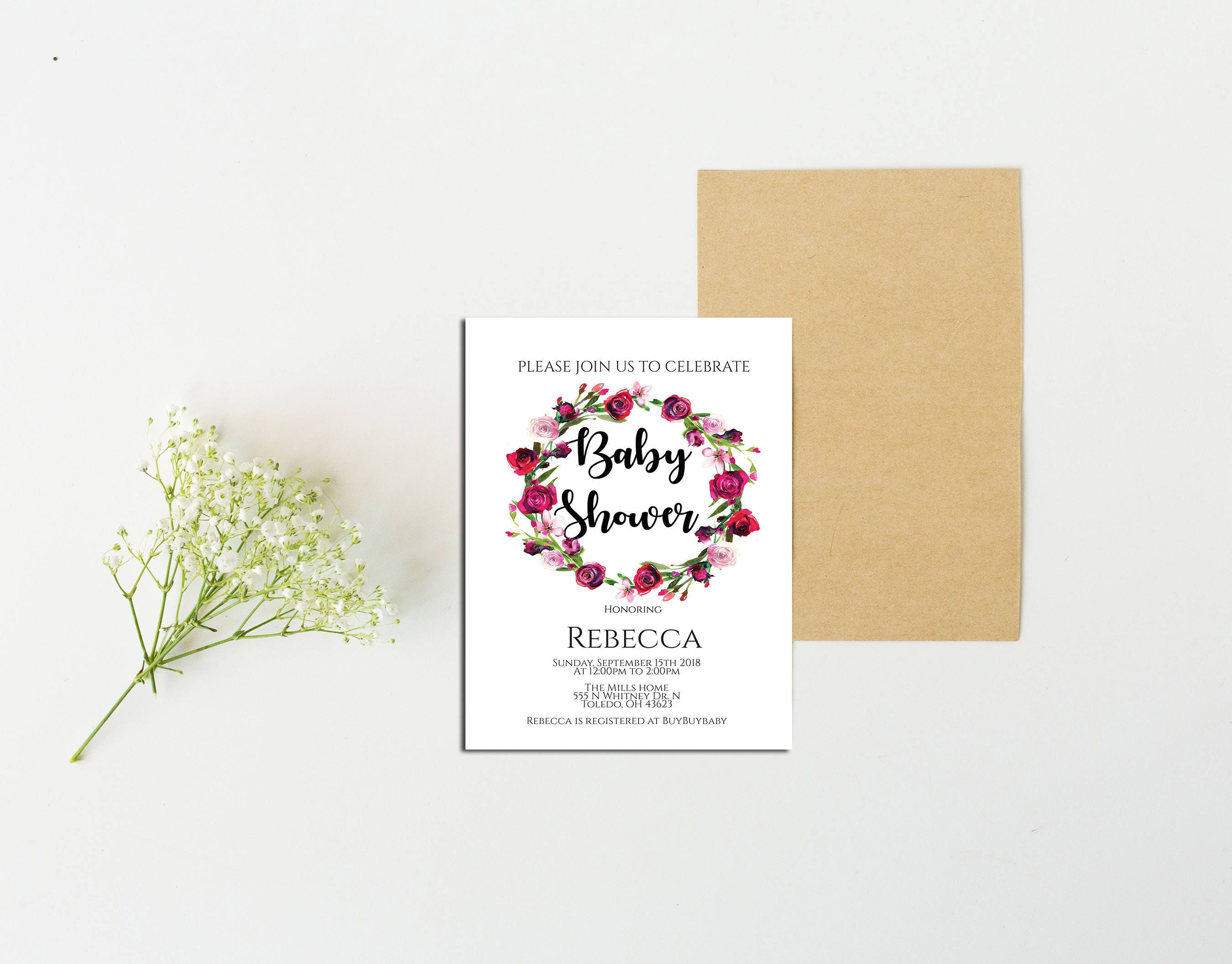 floral baby shower invitation,baby shower invite,baby shower,floral ...