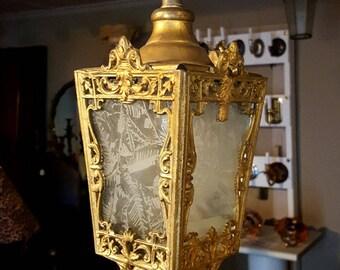 Vintage Art Nouveau Lantern, Brass Lantern,