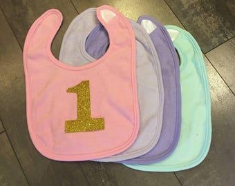 Baby cake smash bib, pink bib, lavender bib, mint bib, purple bib