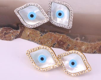5Pairs Hingh Quality Micro Pave Zircon CZ MOP Shell Evil Eye Stud Earrings Jewelry Findings