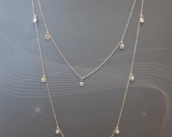long chain necklace, gold vermeil, white bezel dangling zircons, 925 sterling silver