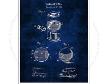 Billiard Ball Decor art print #2 Billiard Ball design invented in 1894 with dark blue background