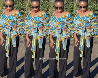 Towani Creations Kente Wrap Top With Exaggerated Ruffle Puff Sleeves Size 8-24UK/4-20USA/XS,S,M,L,XL,2XL,3XL