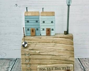 Beach House, Driftwood Art, Wood House, Coastal Decor, Seaside Art, Recycled Wood Art, Driftwood Sculpture, Driftwood Sails, Wood Ornament