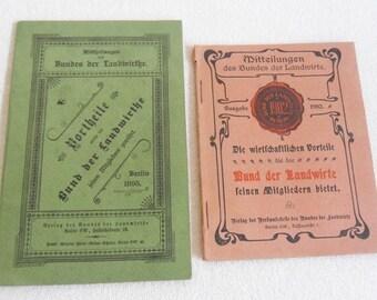2 issues-Federation of Farmers-1895 + 1902-engine-old advertising-farmer farmer