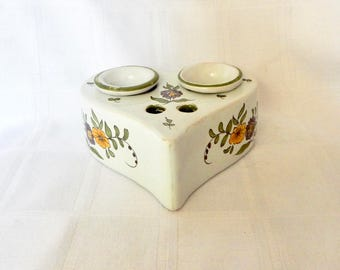 SALE Antique French Faience Double Inkwell - Faience Inkwell France - French Majolica Inkwell Heart Shaped - Ecrier - Faience French Inkwell