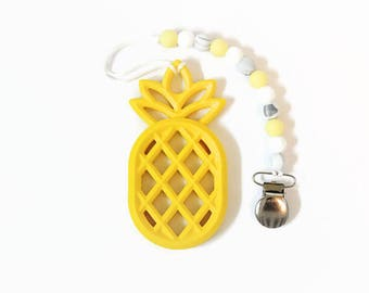 Yellow Pineapple Teether I Pineapple Teether I Pineapple Pacifier Clip I Teething Toy I Pacifier Clip