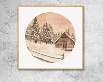 Cabin In The Snow, Winter Sunset Landscape, Watercolor Illustration Print, Wall Art, Wall Decor, Watercolor Painting, Art Print