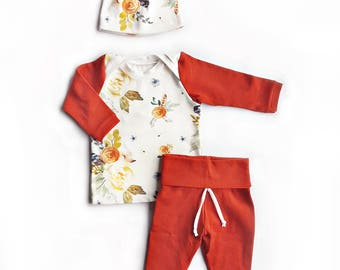 Floral and Rust Coming Home Outfit, Take Home Outfit, Hospital Outfit, Baby Girl