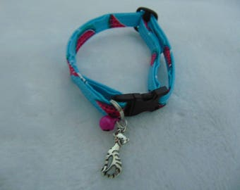 Blue and pink watermelon print cat collar