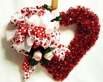 Red Tinsel Hearth Wreath, Valentine Heart Wreath, Heart and Roses Wreath, Valentine Decor, Door Decor,