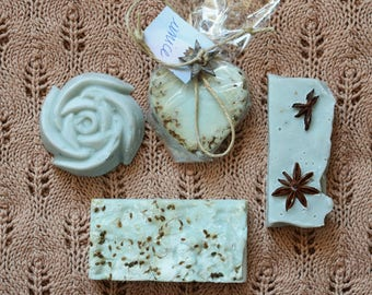 Star anise, organic SOAP with olive oil, coconut oil and peanuts. Palm free and vegan. Natural handmade soap star anise.