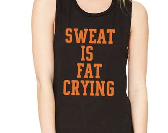Sweat is fat Crying Cry me a River Coach trainer shirt inspired fitness theory tank top orange black navy theory orange in the new fit