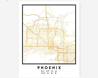 Phoenix Map Coordinates Print - Arizona City Street Map Art Poster, Gold Phoenix Map Print, Phoenix United States Coordinates Poster Map Art