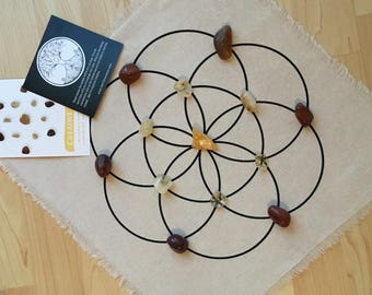 Creative Crystal grid Kit- All crystals , instructions and linen grid included