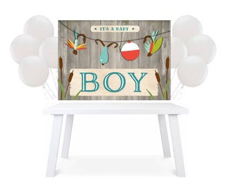Backdrop Party Table Fishing boy Baby Shower Printable back drop