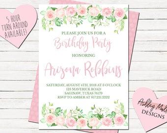Roses Birthday Invitation - Pink Bday Invitation - Boho Birthday Invite - Pink and Green - Flowers - Chic - Simple Invitation - Adult - 21st