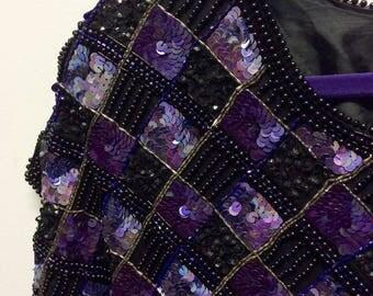1980s purple sequinned mini dress S