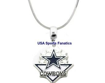 Cowboy pendant etsy nfl dallas cowboys team logo name pendant necklace lead free with 925 aloadofball Gallery