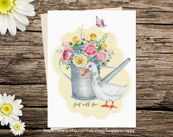 Printable  Card, Blank Greeting Card, Blank   Printable Cards, Digital Download, White Goose & Flowers