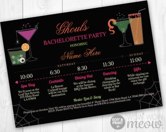 Bridal Shower Itinerary Cocktails Party Ghouls Night Bachelorette Invite Girls Invitations INSTANT DOWNLOAD Halloween Plan Weekend Printable
