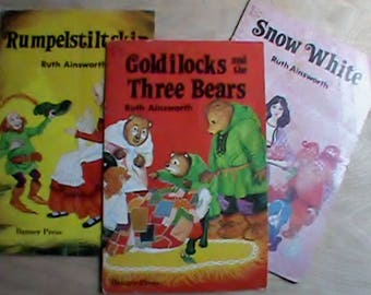 Lot of 3 vintage 1979 childrens bedtime storybooks Snow White and Goldilocks