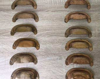 set of 6 vintage drawer pulls old fashioned metal bin pulls with worn surface u0026