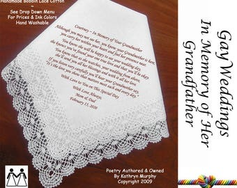 Gay Wedding ~ Hankie For the Bride  In Memory of her Grandmother L511 Title, Sign & Date for Free!  Wedding Hankerchief Poem Printed Hankie