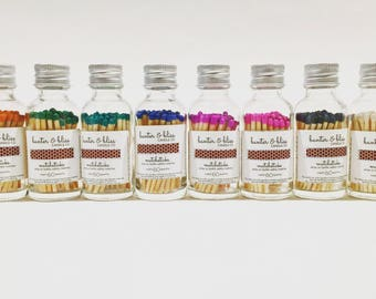 Colored Match Bottles with Striker (60 Count Matchsticks - Tons of Colors Available) - Custom Labeling and Bulk Pricing Available!