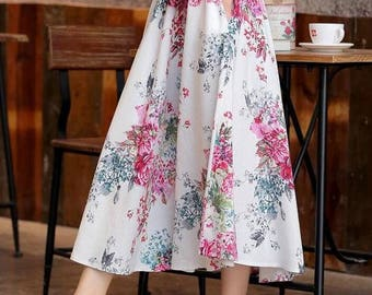 Floral Women Linen Skirt Elastic Skirts Cotton linen Many Colors Custom Made